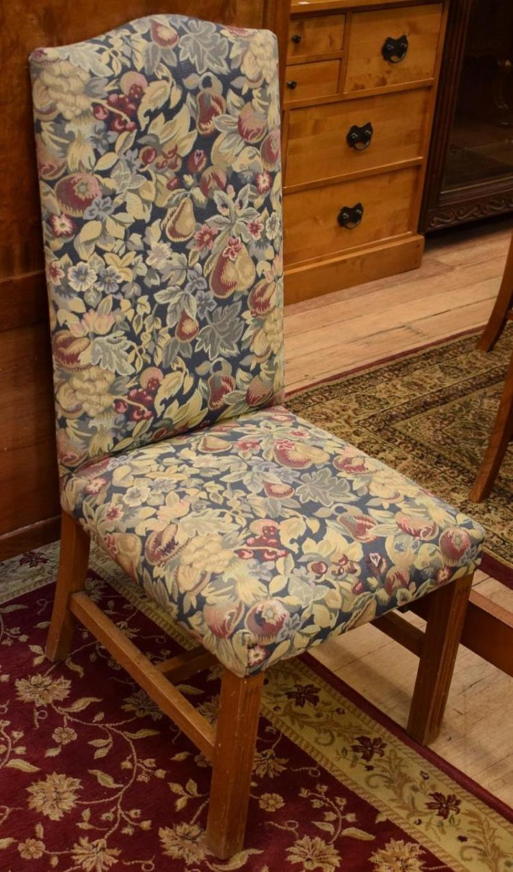 SIX GEORGIAN STYLE HIGH BACKED DINING CHAIRS (WITH CREAM OVER COVERS)