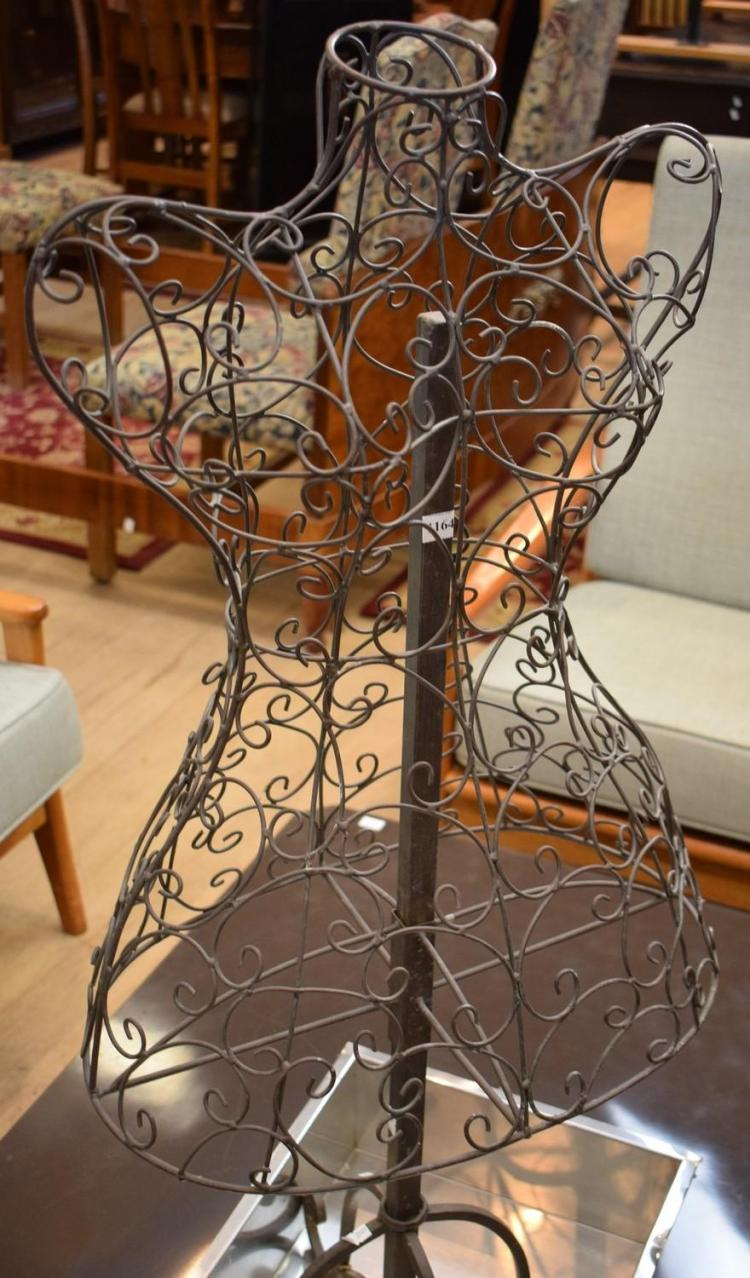 A WROUGHT IRON MANNEQUIN BUST