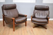 A PAIR OF 1960's TESSA LEATHER ARM CHAIRS (including one swivel base)