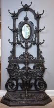 AN ORNATE FRENCH 19TH CENTURY CAST IRON HALL STAND - stamped Corneau Freres A. CHAREVILLE No.26 (220cm  90cm w x 45cm l)