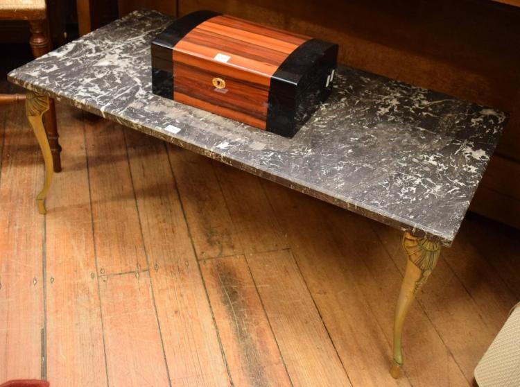 A FRENCH BRASS MARBLE TOP COFFEE TABLE