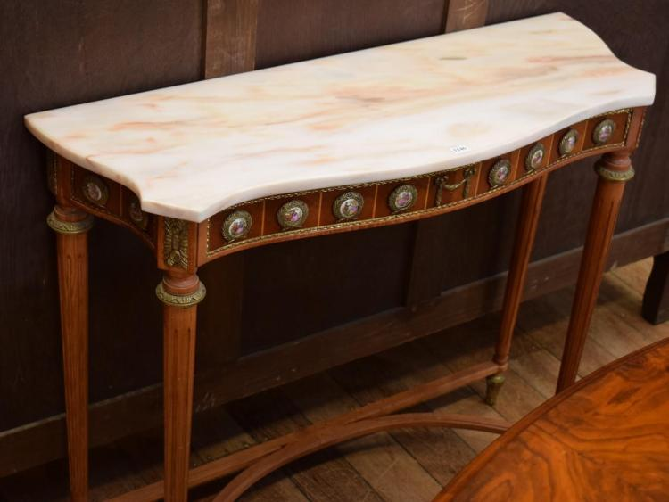 A LOUIS XVI STYLE MARBLE TOP CONSOLE