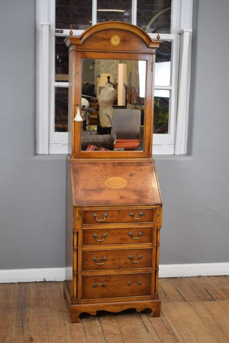 A GEORGIAN STYLE INLAID MIRRORED BUREAU (1.85m h x 55cm w x 45cm l)