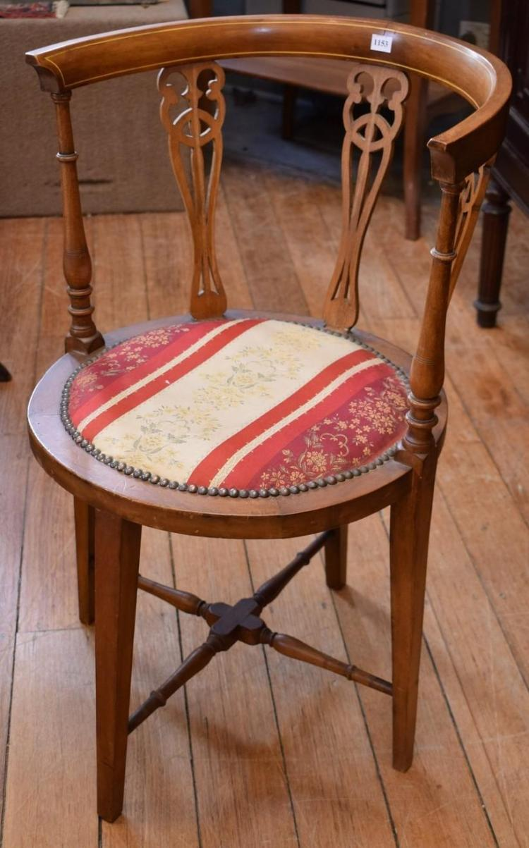 AN EARLY 20TH CENTURY INLAID CROSS STRETCHER BASE OCCASIONAL CHAIR