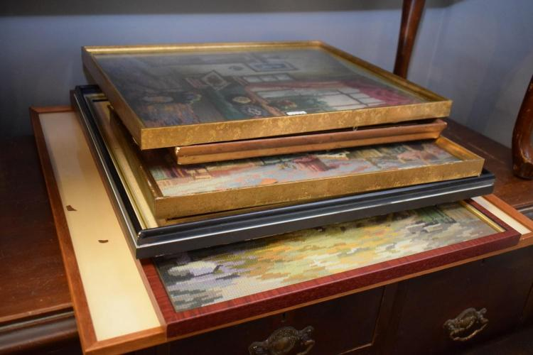 A COLLECTION OF FRAMED TAPESTRYS AND PAINTINGS