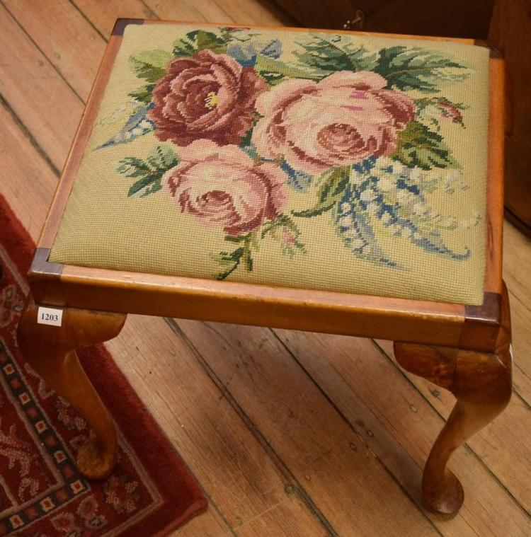 A QUEEN ANNE STYLE TAPESTRY FOOT STOOL AND A FIRE SCREEN