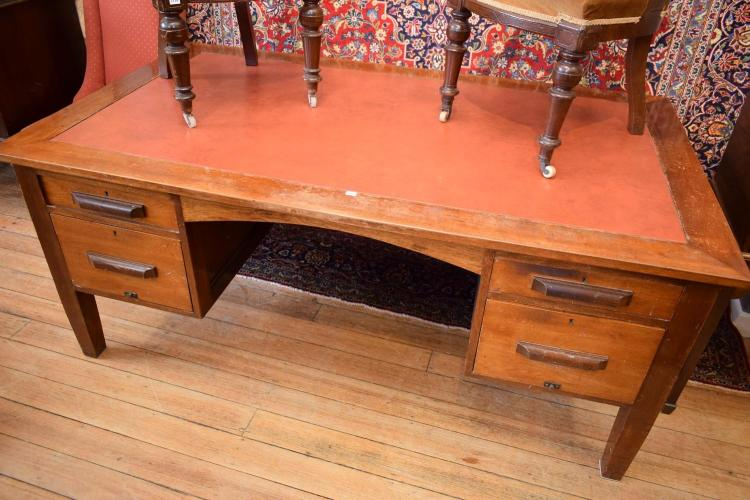 AN EARLY 20TH CENTURY BLACKWOOD LEATHER INSET DESK - top in need of restoration (75cm h x 1.85m w x 1m l)
