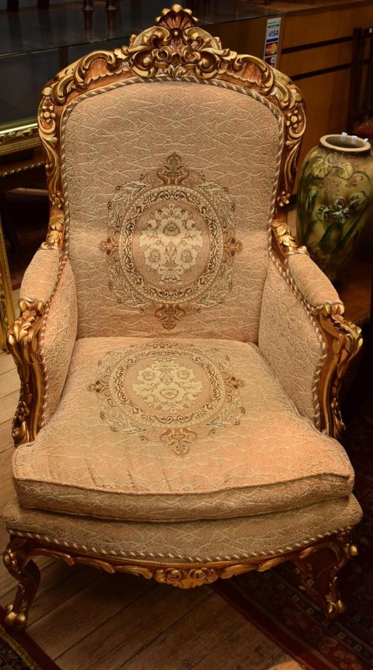 A PAIR OF LOUIS XV STYLE GILTWOOD ARMCHAIRS