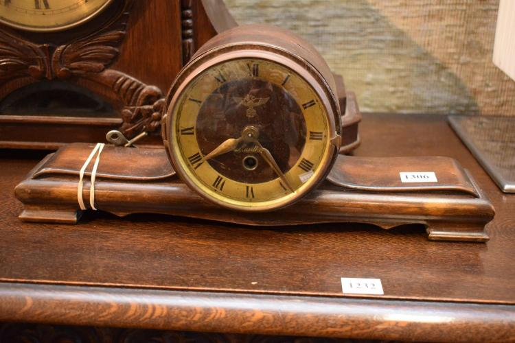 A SMALL GERMAN MANTLE CLOCK WITH NATZI EGAL