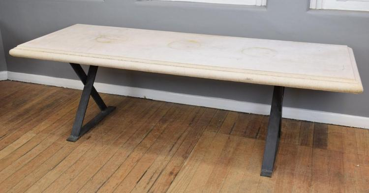 A SANDSTONE IRON BASED OUTDOOR TABLE (90X240X80cm)
