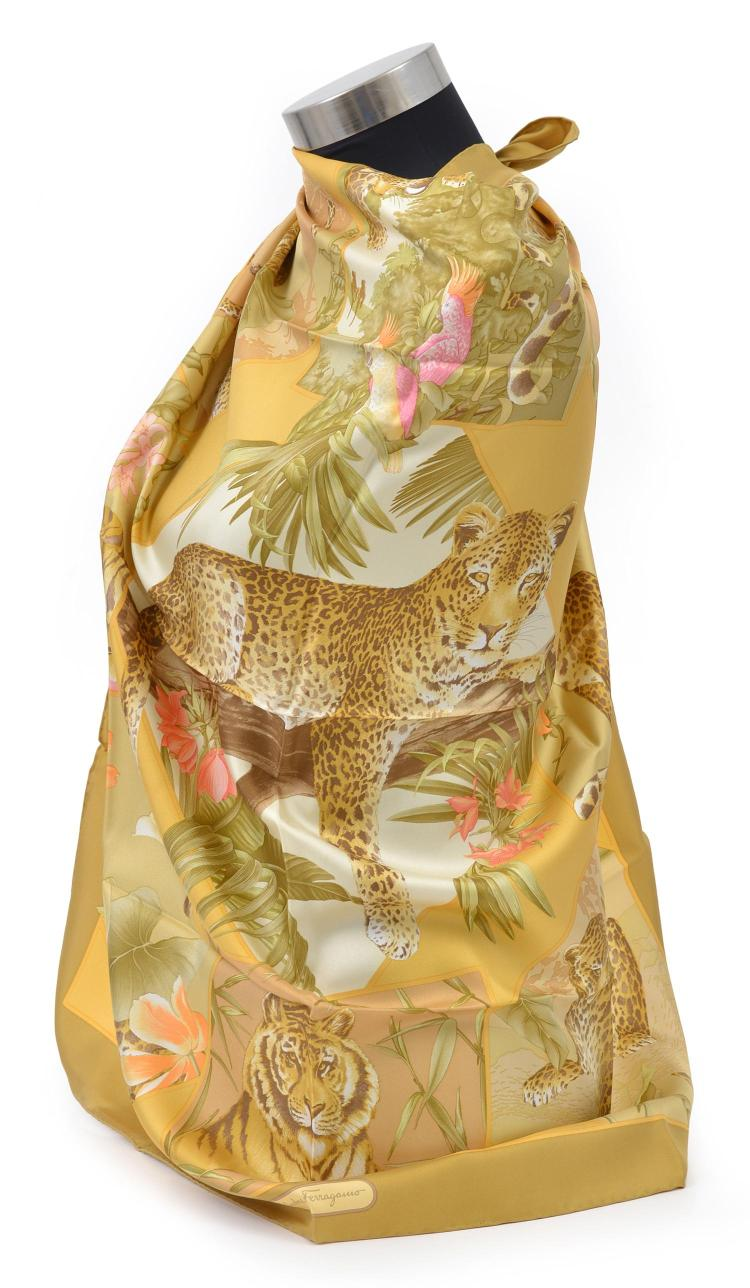 a silk scarf by salvatore ferragamo