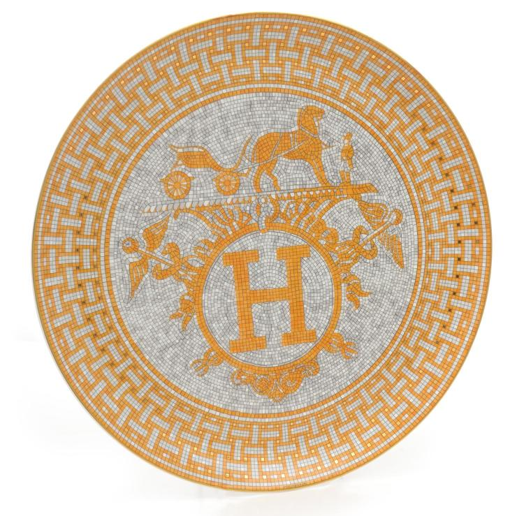 A DECORATIVE PORCELAIN PLATE BY HERMES