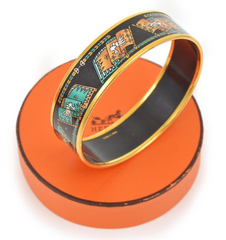 A WIDE ENAMEL AND SILVER BANGLE BY HERMES