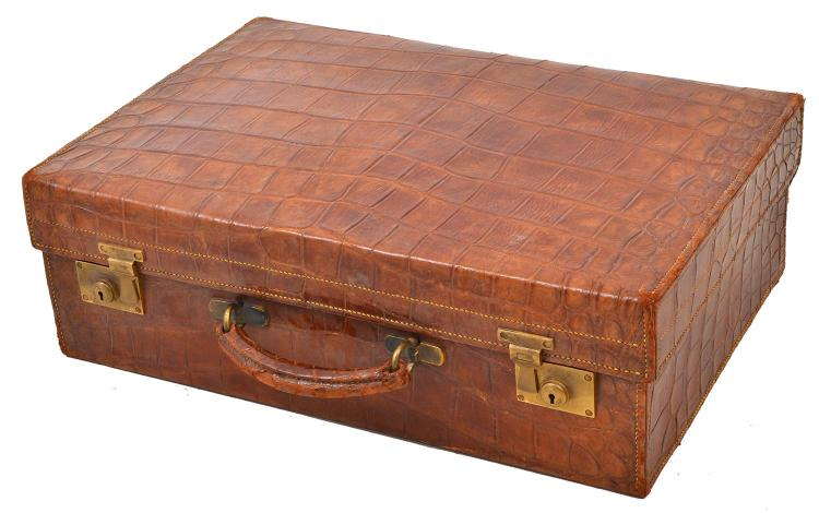 A CROCODILE SUITCASE BY ASPREY OF LONDON