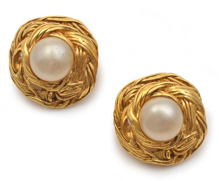 A PAIR OF EARRINGS BY CHANEL