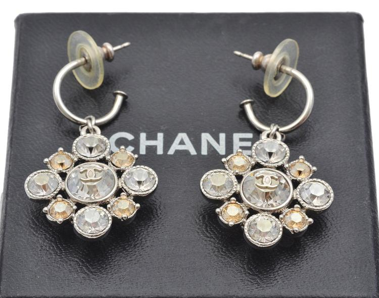 A PAIR OF PASTE SET EARRINGS BY CHANEL