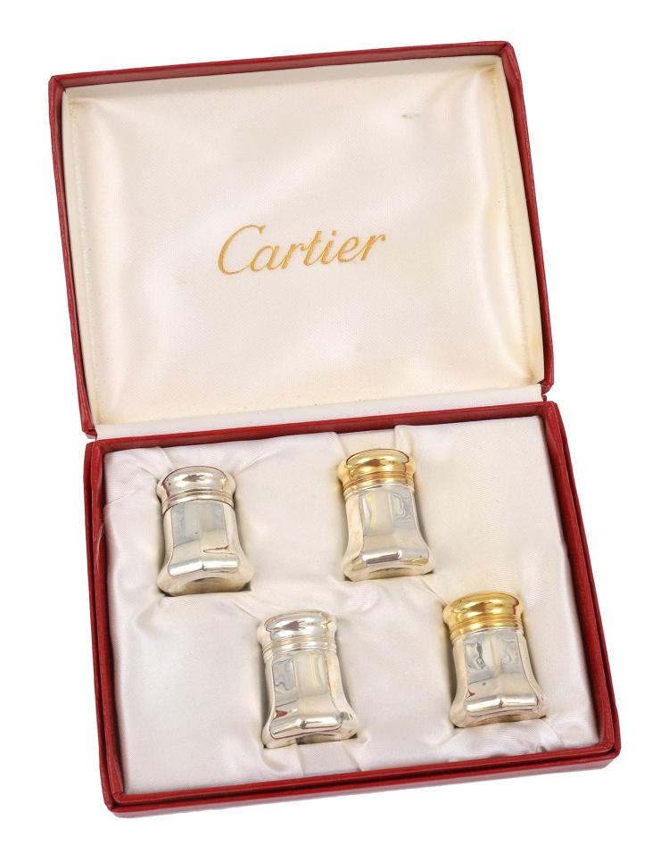 TWO PAIRS OF SILVER MINI SALT AND PEPPER SHAKERS BY CARTIER
