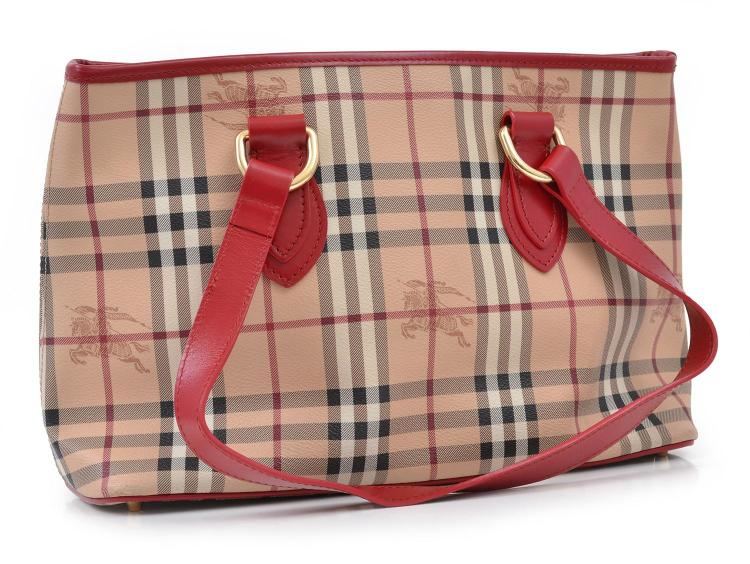 A HANDBAG BY BURBERRY