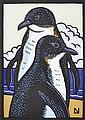 LESLIE VAN DER SLUYS (1939-2010) Fairy Penguins 2000 linocut 35/99