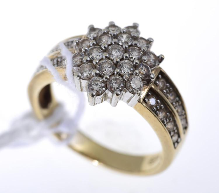 A DIAMOND DRESS RING WITH 36 DIAMONDS IN 9CT YELLOW GOLD