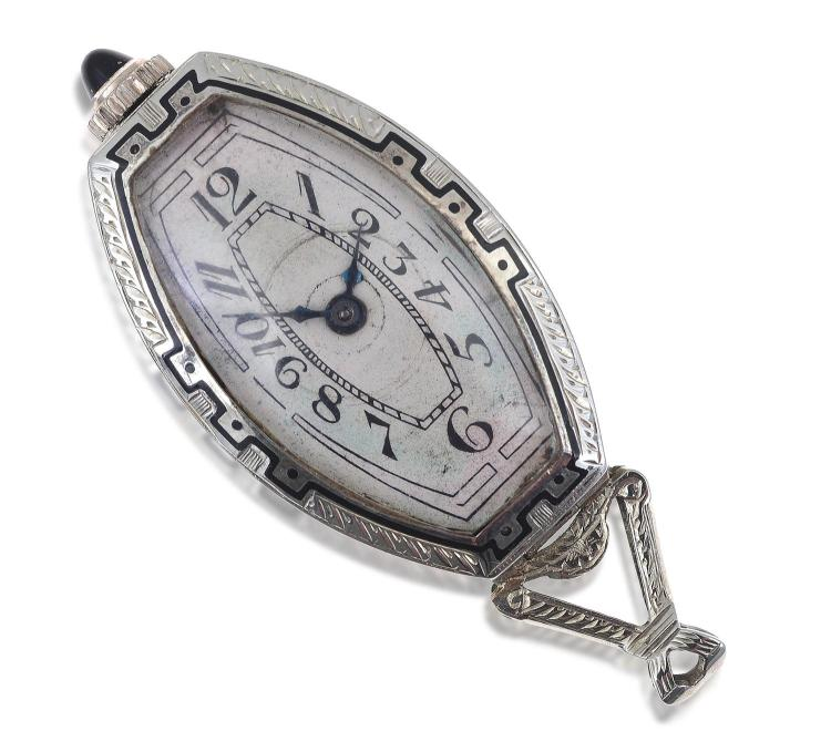 AN ART DECO PENDANT WATCH. MANUAL WIND MOVEMENT, TONNEAU CREAM DIAL WITH BLACK ARABIC NUMBERALS, PLATINUM CASE WITH DIAMOND AND ENAM...