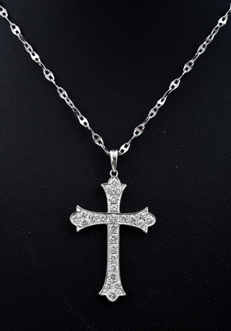 A DIAMOND SET CROSS PENDANT, TO A FANCY LINK CHAIN, ALL IN 18CT WHITE GOLD