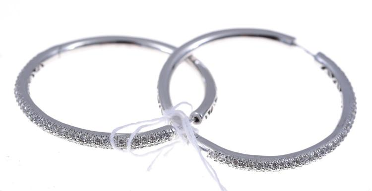 A PAIR OF PAVE SET DIAMOND HOOP EARRINGS IN 18CT WHITE GOLD