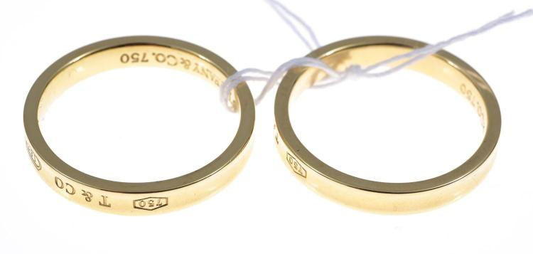 TWO TIFFANY & CO 18CT GOLD RINGS