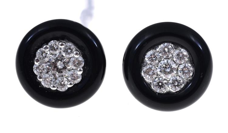 A PAIR OF ONYX AND DIAMOND EARRINGS SET IN 18CT WHITE GOLD