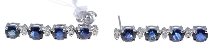A PAIR OF SAPPHIRE AND DIAMOND EARRINGS IN 18CT WHITE GOLD