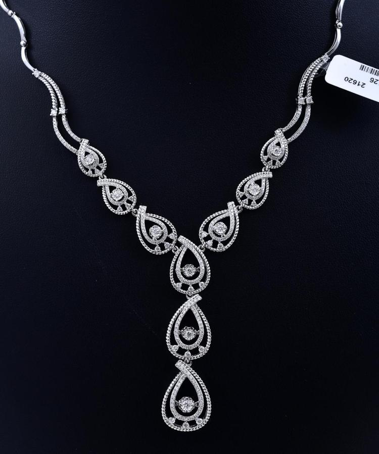 A DIAMOND SET NECKLACE OF APPROXIMATELY 1.95CTS , WITH DANCING DIAMOND DETAIL, IN 18CT WHITE GOLD