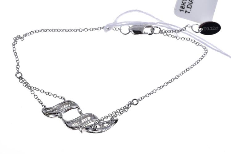 A BAGUETTE DIAMOND SET BRACELET, IN 18CT WHITE GOLD A/F