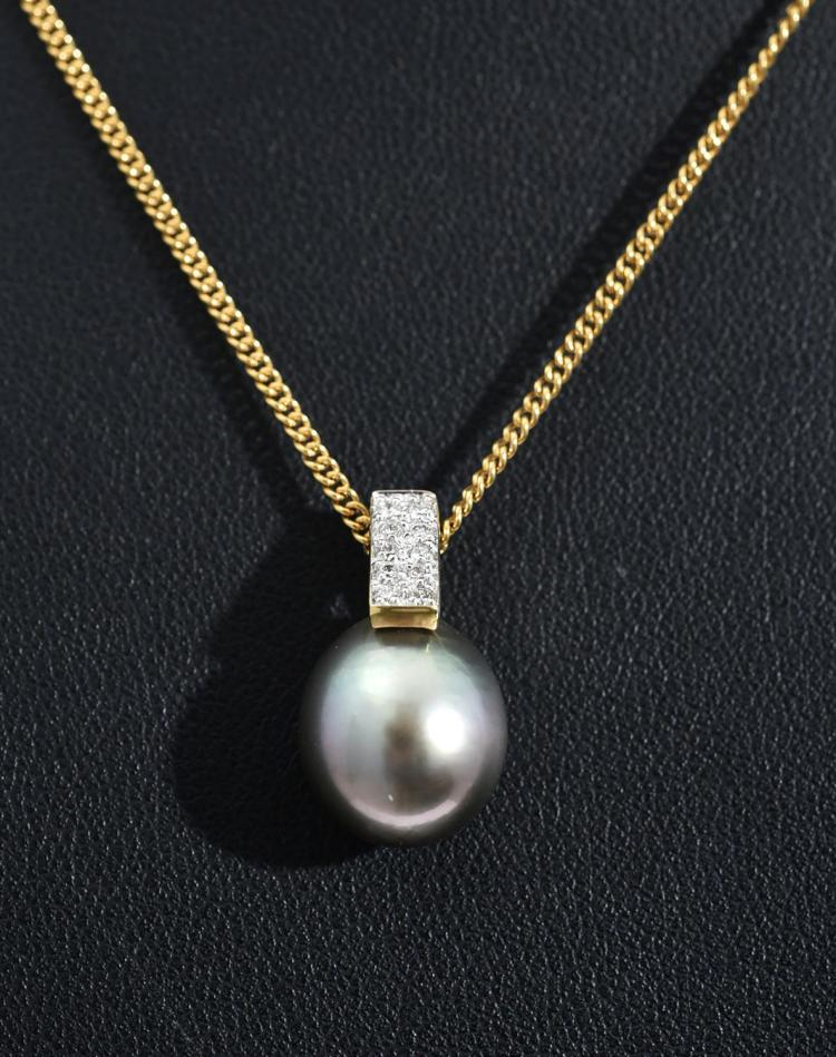 A TAHITIAN PEARL AND DIAMOND PENDANT IN 9CT WHITE GOLD