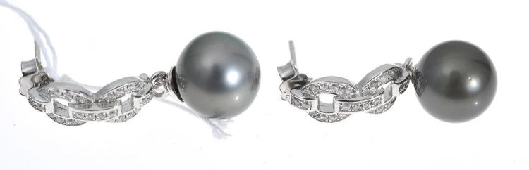 A PAIR OF TAHITIAN PEARL AND CUBIC ZIRCONIA DROP EARRINGS, PEARLS MEASURING 10MM, IN STERLING SILVER