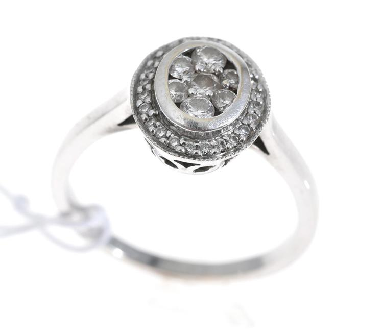 A MULTI DIAMOND SET DRESS RING, IN 18CT WHITE GOLD