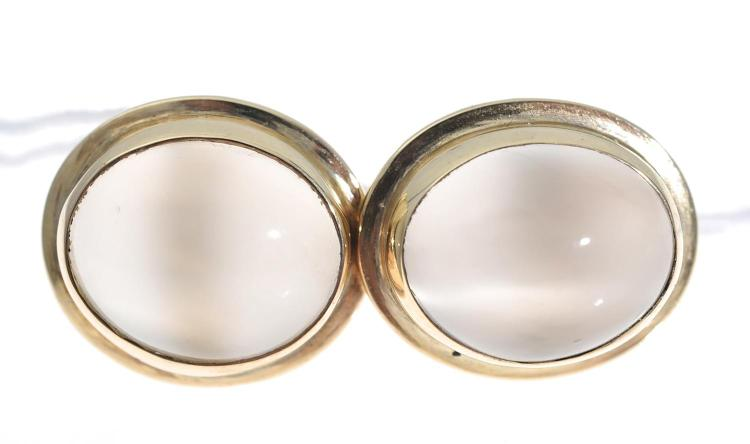 A PAIR OF MOONSTONE STUDS SET IN 18CT GOLD