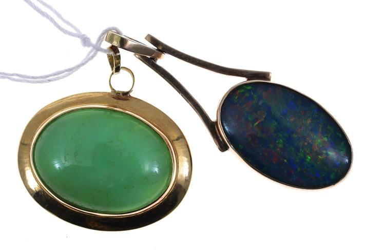 TWO PENDANTS SET IN GOLD ONE SET WITH OPAL TRIPLET AND ONE JADEITE