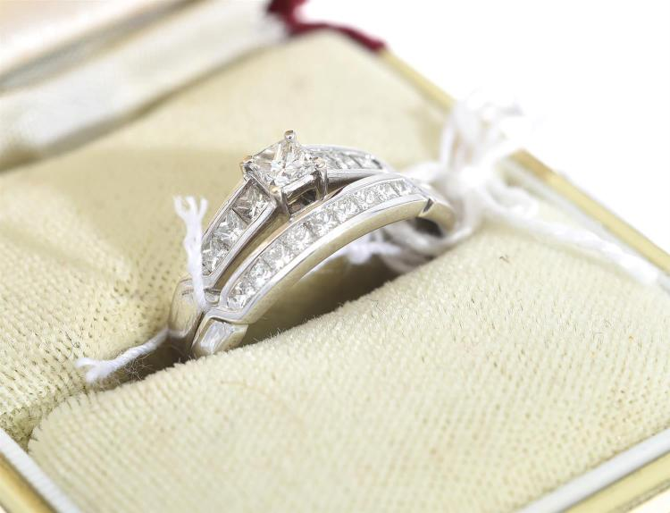 A PRINCESS CUT DIAMOND SOLITAIRE RING WITH MATCHING DIAMOND SET WEDDER, IN 18CT WHITE GOLD