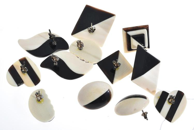 SIX PAIRS OF EARRINGS IN IVORY, BULLHORN AND STERLING SILVER
