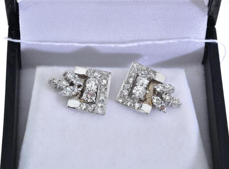 A PAIR OF DIAMOND EARRINGS IN WHITE GOLD