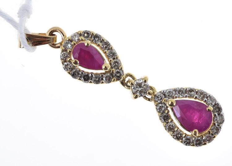 A DOUBLE DROP RUBY AND DIAMOND PENDANT, IN 14CT GOLD