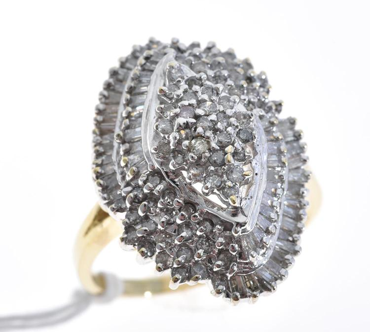 A LARGE DIAMOND COCKTAIL RING, APPROXIMATELY 1.94CTS, MOUNTED IN 10CT GOLD