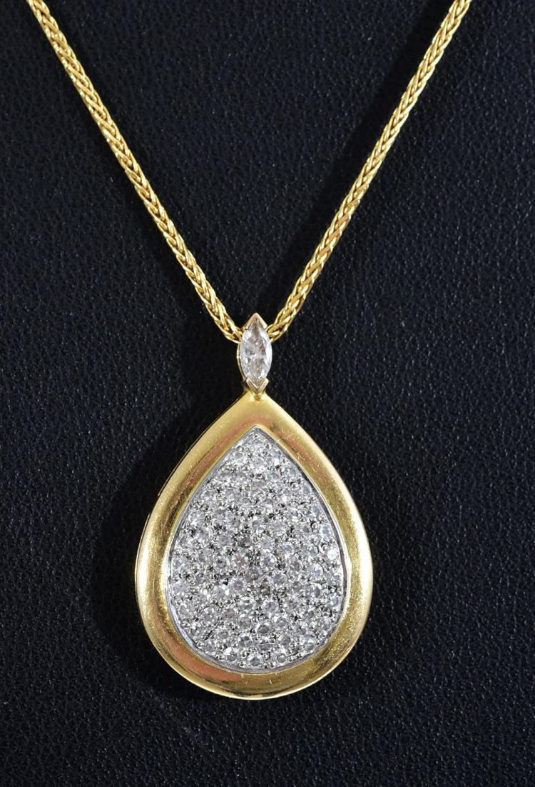 A HANDCRAFTED DIAMOND PENDANT NECKLACE SET IN 18CT YELLOW GOLD