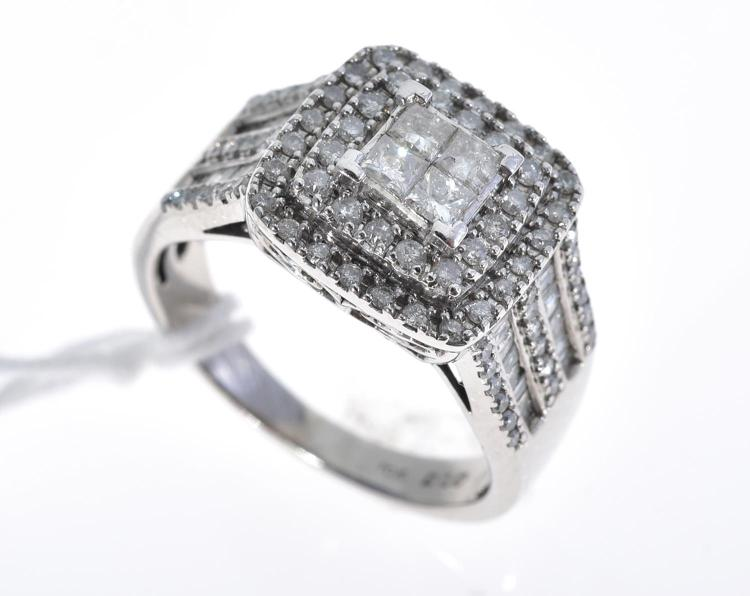 A MULTI-DIAMOND SET DRESS RING OF APPROXIMATELY 1.10CTS MOUNTED IN 10CT WHITE GOLD