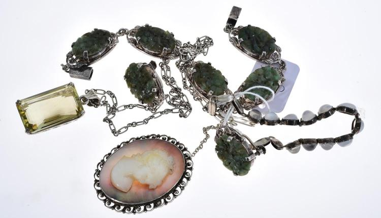 A NEPHRITE AND SILVER BRACELET AND EARRINGS, SILVER MOONSTONE BRACELET, QUARTZ AND SILVER PENDANT AND A MOTHER OF PEARL AND SILVER C...