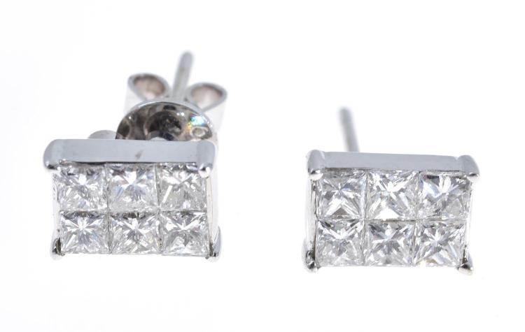 A PAIR OF PRINCESS CUT DIAMOND EARRINGS IN 18CT WHITE GOLD