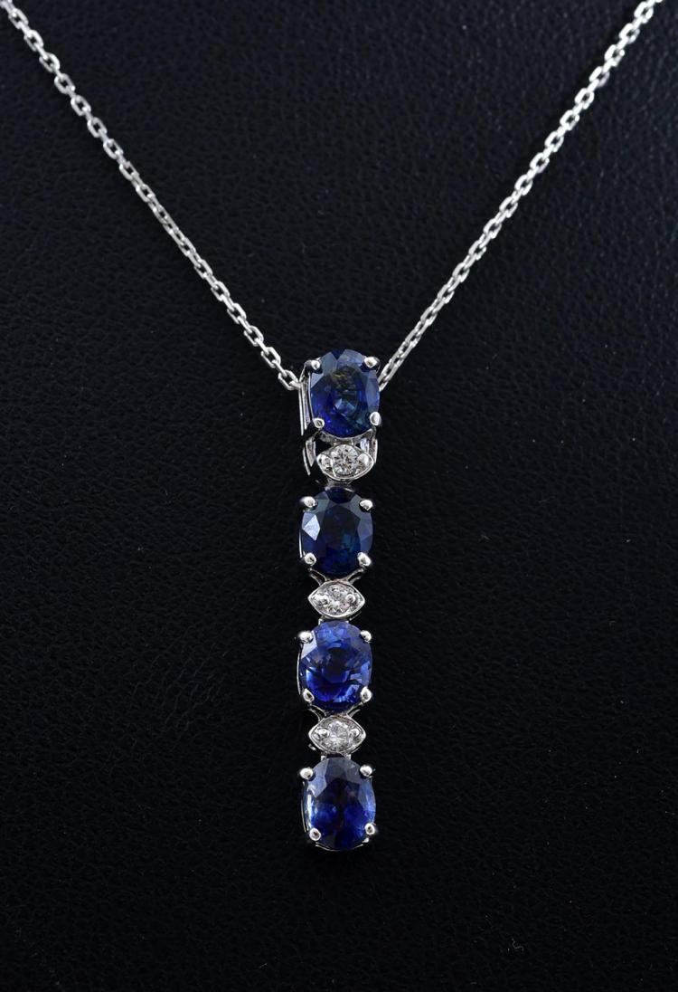 A CEYLON SAPPHIRE AND DIAMOND PENDANT TO A 14CT WHITE GOLD CHAIN