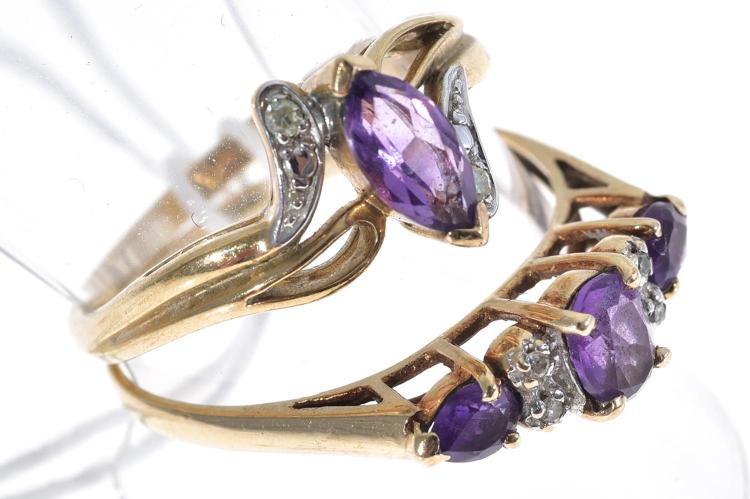TWO AMETHYST AND DIAMOND RINGS SET IN 9CT GOLD