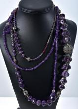THREE VINTAGE AMETHYST NECKLACES INC PEARL, GARNET AND SILVER.
