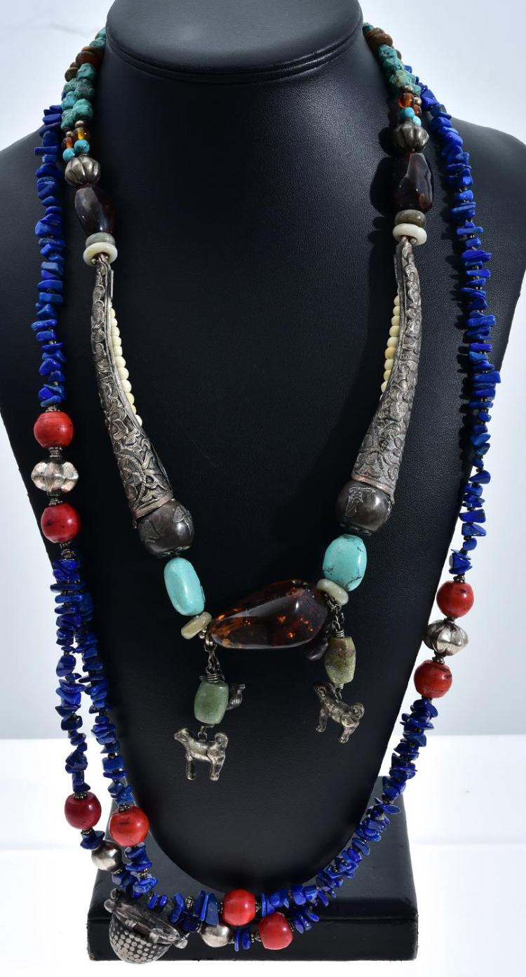 TWO VINTAGE TRIBAL NECKLACES FEATURING TURQUOISE, SILVER CORAL LAPIS LAZULI ETC